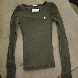 Abercrombie Girls-M Brown Stretch longsleeve shirt